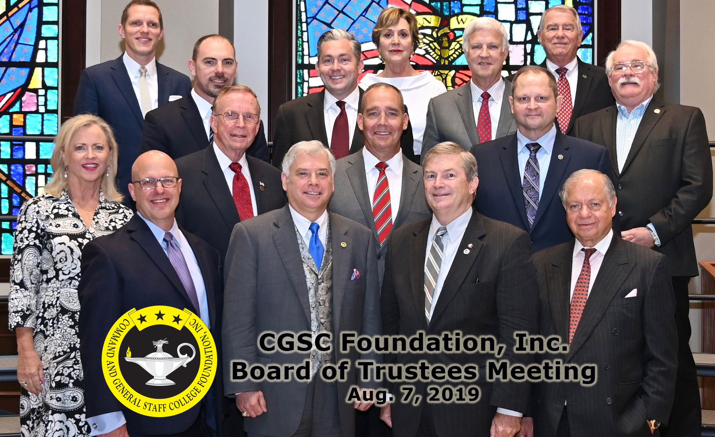 Photo of the CGSC Foundation board of trustees with chairman and president/ceo in the front row on Aug. 7, 2019.