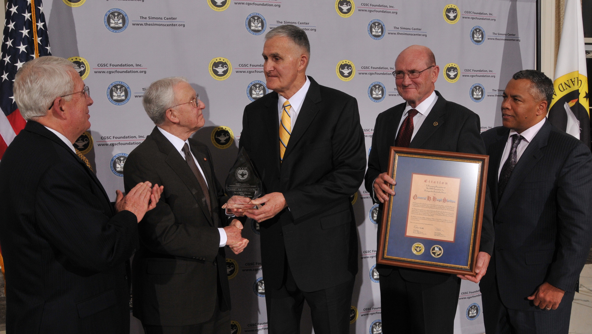 General Hugh Shelton receives the CGSC Foundation's 2011 Distinguished Leadership Award