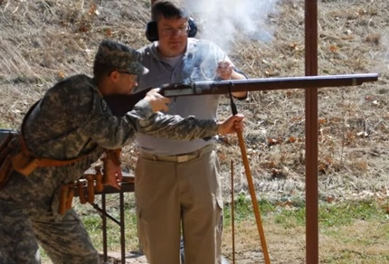 Board Members get opportunity to shoot antique weapons