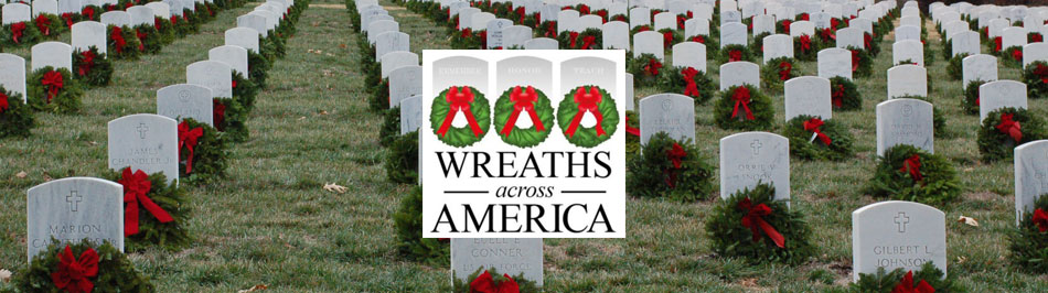 Wreaths Across America logo over a wreath-laden cemetery photo