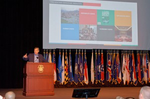Dr. Jim Waller, the Cohen Professor of Holocaust and Genocide Studies at Keene State College in New Hampshire, provides the keynote remarks at the opening of the 2016 Fort Leavenworth Ethics Symposium. - Click the photo for the full gallery.