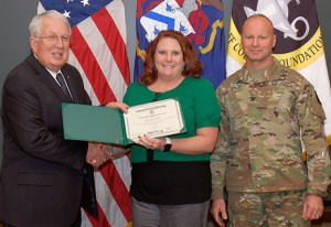 Katie Ervin, Midwest Regional Director – Webster University receives her certificate of completion of the National Security Roundtable in March 2016.