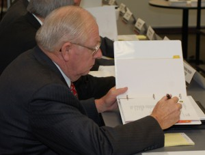 Bob Meyers reviews materials at a recent Foundation board meeting.