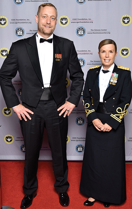 IMS CoS Maj. Jan Feldmann (Ieft) and Class of 2017 President Maj. Shari Shugart on the red carpet at the 2016 Celebration of International Friendship at the Kauffman Center for the Performing Arts in KC on Sept. 16.