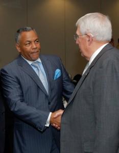 "Mark ""Ranger"" Jones, left, greets Foundation Chairman Lt. Gen. (Ret.) John Miller at a Foundation event."