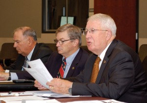 Foundation Chairman Lt. Gen. (Ret.) John Miller, right, delivers his report at the September 2016 board of trustees meeting. Board President Mike Hockley, center in the background, and Treasurer Tom Dials take notes. – Click the photo for more photos from the meeting.