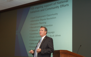Larry A. Hisle, Executive Director of the Greater Kansas City Federal Executive Board, led a discussion on the FEBs roles and missions on Dec. 13, at the Lewis and Clark Center.