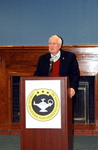 Lt. Gen. (Ret.) John Miller, Foundation chairman, thanks supporters of the Foundation at a holiday gathering in December 2016.