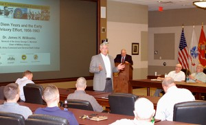 Foundation CEO Doug Tystad introduces Dr. Jim Willbanks at a recent Vietnam War Commemoration Lecture.