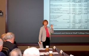 Foundation Director of Development Joan Cabell presents at the fall 2016 board of trustees meeting.