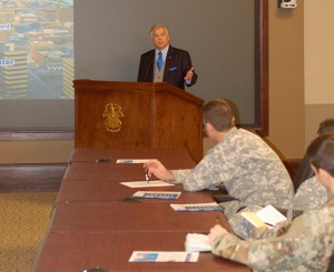Simons Center Program Director Rod Cox provides opening remarks at a recent InterAgency Brown-Bag Lecture.