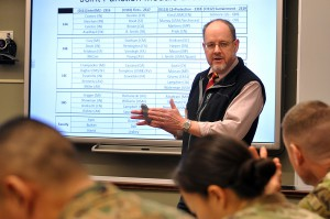 "Command and General Staff College Civilian Educator of the Year Dr. Jack Kem, Department of Joint, Interagency and Multinational Operations, goes over administrative details with his ""Introduction to Army Service Component Command /Corps Command and Control of Land Component Command"" Command and General Staff Officer Course students Dec. 8 at the Lewis and Clark Center on Fort Leavenworth. - photo by Prudence Siebert/Fort Leavenworth Lamp"