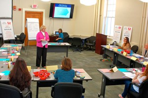 Ann Soby, Foundation director of operations, presents at the 7 Habits of Highly Effective Military Families Workshop in October 2016.