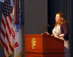 Dr. Shannon French addresses the attendees at the 2017 Fort Leavenworth Ethics Symposium.