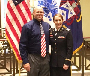 Maj. Genna Speed with her husband Jon during the award ceremony June 8.