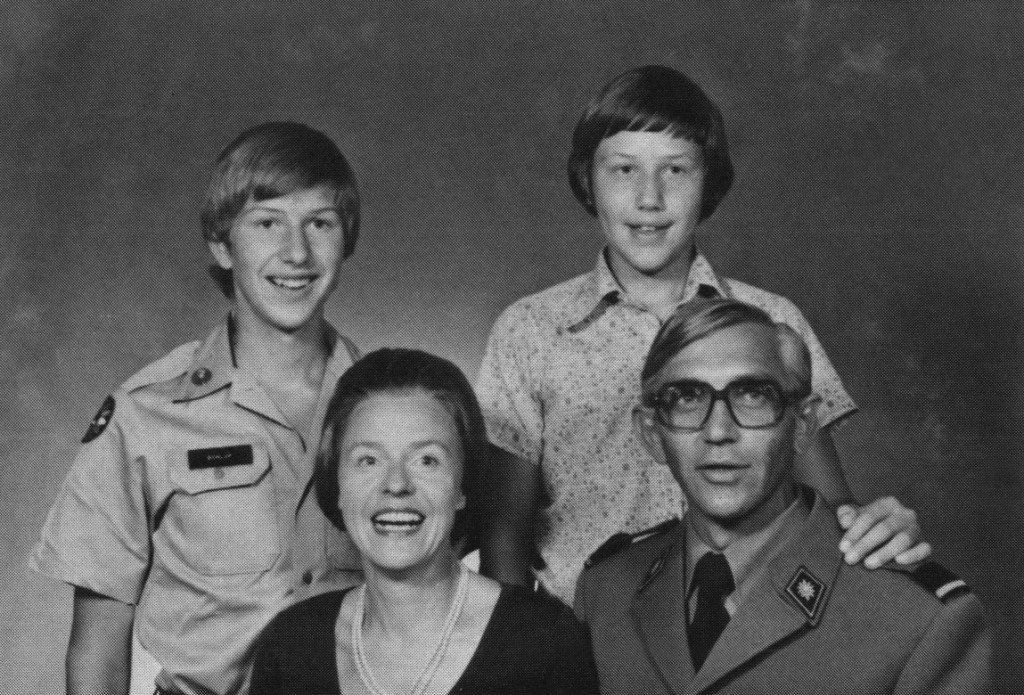 "Then Maj. Hans Schlup with his family, wife Ursula and sons Daniel and Raphael, in the 1978 of ""The Bell,"" the CGSC class yearbook."