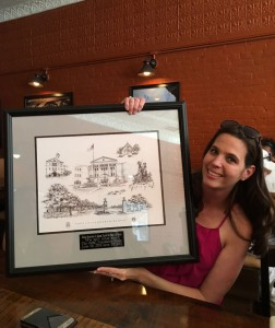 The Foundation staff hosted a farewell lunch for Linda Carpentier on June 20 where she received this framed memento of Fort Leavenworth/CGSC as a farewell gift.