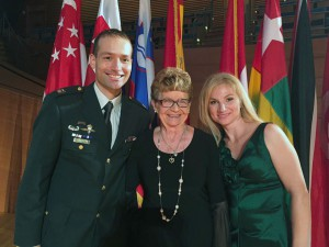 Maxine Hunter with the Slovenian officer and his wife that she sponsored in the CGSC Class of 2016-2017. The officer is currently a SAMS student.