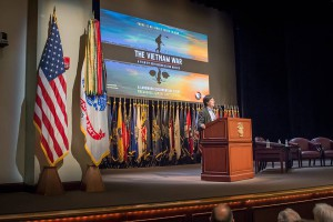 """Documentarian Ken Burns provides remarks during his presentation on his new documentary series """"The Vietnam War"""" at CGSC on Sept. 8. (photos courtesy ArmyU Public Affairs)"""
