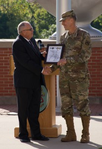 Brigadier General Scott L. Efflandt receives the Assumption of Responsibility certificate from Kirby Brown, Deputy to the Commander of the Combined Arms Center, becoming the second Provost of the Army University in an assumption of responsibility ceremony at Fort Leavenworth Sept. 7. (Photo by Jim Shea/ArmyU)