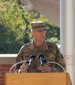 Brigadier General Scott L. Efflandt speaks to the audience during his assumption of responsibility as the 2nd Provost of the Army University ceremony at Fort Leavenworth Sept. 7. (Photo by Jim Shea/ArmyU)