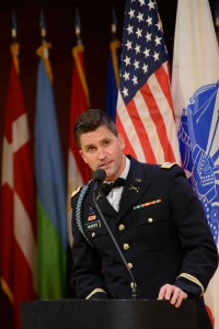 Master of ceremonies, Army National Guard 1st Lt. Rob Hughes, who is also a news anchor on KMBC-TV, Kansas City/ABC.