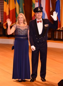 International Military Student (IMS) Chief of Staff, Maj. René Berendsen and wife Biance and from the Netherlands, as they are introduced during the Celebration of International Friendship in Kansas City Sept. 29.