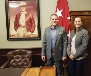 Bryan Huff and Veronica Morris from the Huff Group visit the MacArthur Room during their walk and talk tour of Fort Leavenworth and the Command and General Staff College March 12.