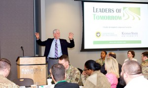 Kansas State University President Richard B. Myers  delivers the morning keynote address at the Leaders of Tomorrow Symposium on March 8 at the K-State Olathe Campus.