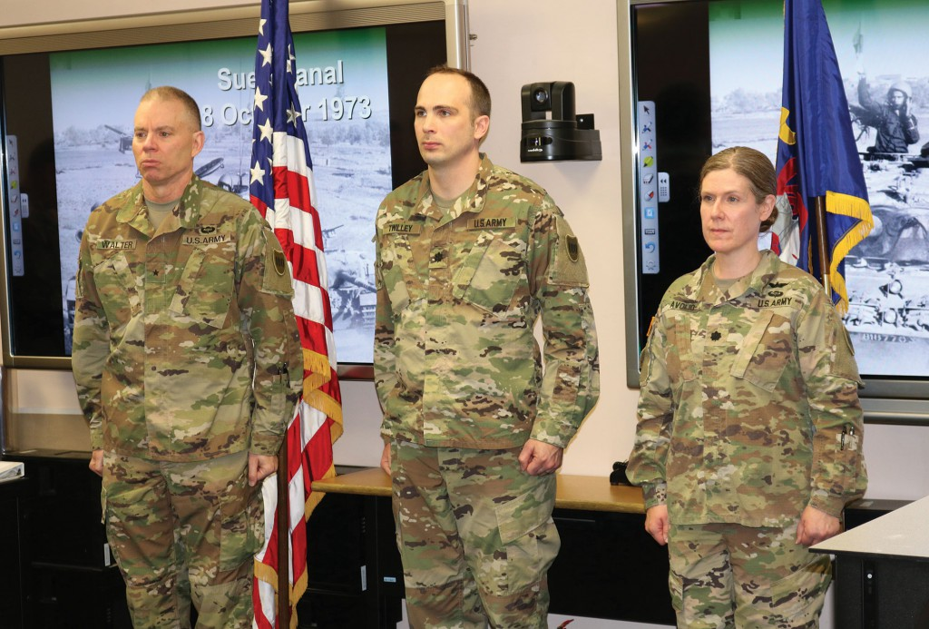 Brig. Gen. Walter concluded his visit by serving as the senior officer for the promotion ceremony for Maj. Lester Twilley, one of the TASS instructors. He assisted the 10th Training Battalion Commander, Lt. Col. Michelle Avolio, in promoting Maj. Lester Twilley to lieutenant colonel.