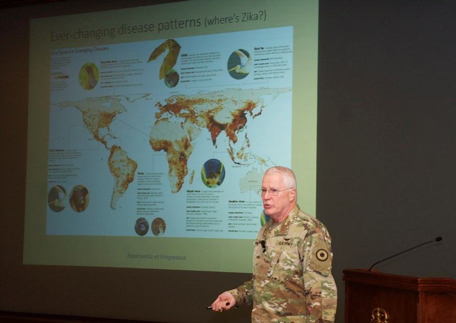 "Dr. Lee Norman presents ""Modern Epidemics: Why they occur and why we should worry!"" at the U.S. Army Command and General Staff College on April 23, 2018."