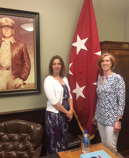 Haley Shaw, left, and Mary Reintjes, two of the CGSC Foundation's community volunteers, took a 'Walk and Talk' tour of Fort Leavenworth and CGSC on May 10.