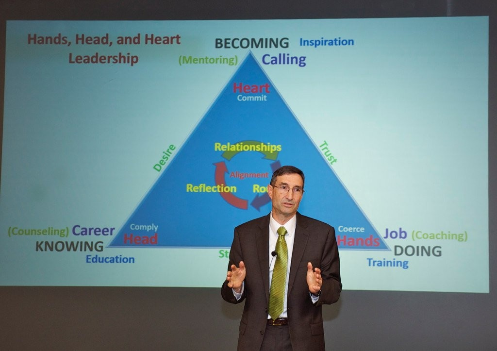 """Dr. Ted Thomas explains his """"Hands, Head, and Heart"""" model of leadership at the U.S. Army Command and General Staff College on June 6."""