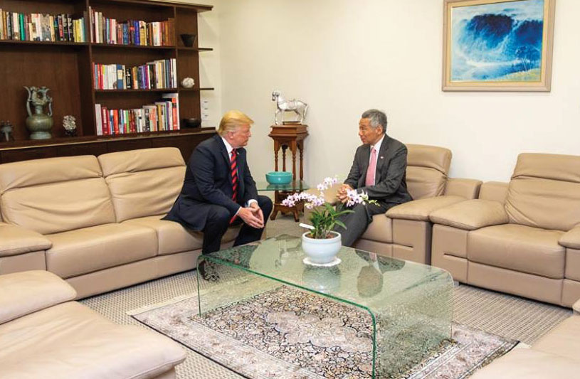 After initial meet/greet activities on June 11 in preparation for the U.S.-North Korea summit, U.S. President Donald Trump and Singapore Prime Minister Lee Hsien Loong have private conversation.
