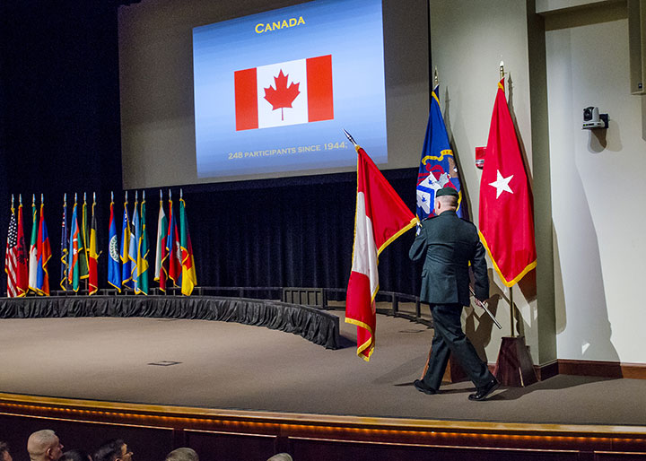 Each CGSOC class begins with the International Flag Ceremony. The flag ceremony for the Class of 2019 is scheduled for Aug. 13 at 9 a.m.