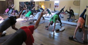 CGSC students in the A710 elective participate in yoga classes at the Leavenworth Yoga Coop in downtown Leavenworth, Kan., during the spring 2018 elective period of CGSOC.
