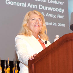 Gen. (Ret.) Ann Dunwoody addresses the CGSC class on Aug. 28.