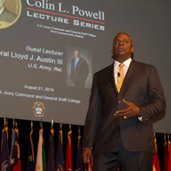 Gen. (Ret.) Lloyd J. Austin III delivers the Powell lecture to the Class of 2019 on Aug. 21.
