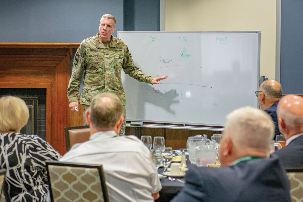 Army University Provost and CGSC Deputy Commandant Brig. Gen. Scott L. Efflandt. Efflandt talks to the group about the Army's leader selection and development processes.