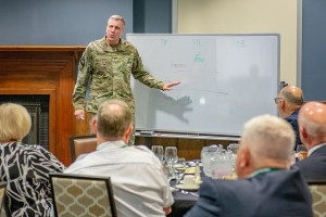 Brig. Gen. Scott L. Efflandt, CGSC deputy commandant, delivers the keynote remarks at the Executive Leader Summit with the School of Command Preparation on Sept. 6.