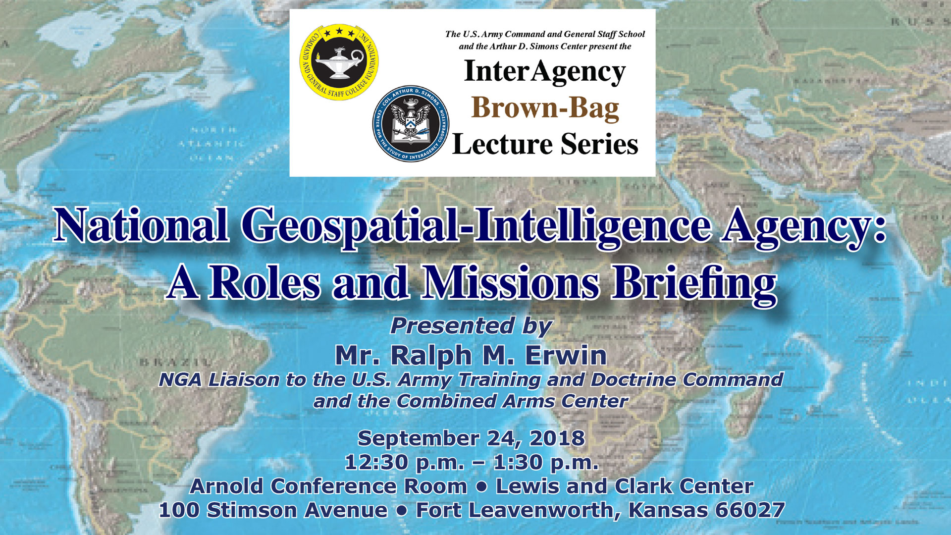 InterAgency Brown-Bag Lecture featuring the NGA set for Sept