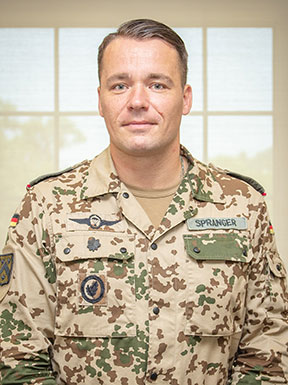 Lt. Col. Thomas Spranger from Germany, CGSOC Class of 2019 International Military Student Chief of Staff.