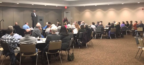 Foundation President/CEO Doug Tystad delivers remarks and introduces Dr. Shannon French at the ethics program Oct. 30 at the Jewish Community Center in Overland Park, Kan.