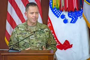 Brig. Gen. Troy D. Galloway, speaks at last year's Army National Guard Birthday celebration on Fort Leavenworth. Galloway become the interim provost of the Army University and interim deputy commandant for the Command and General Staff College on Dec. 7. (U.S. Army Photo by Dan Neal)