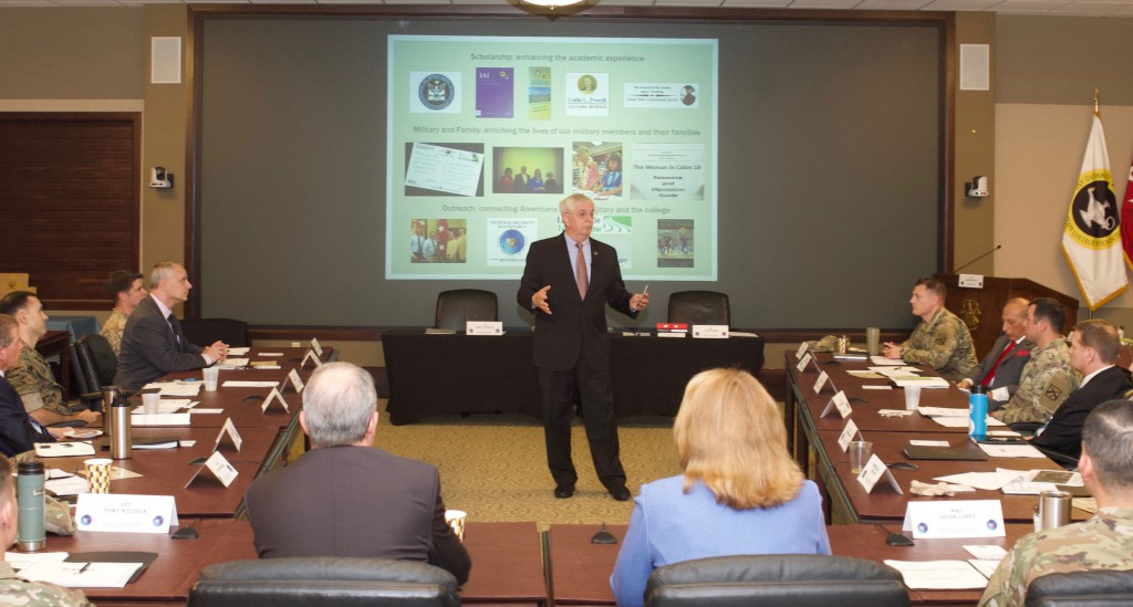Foundation President/CEO Doug Tystad briefs attendees on Foundation support to the College during the National Security Roundtable program in October 2018.