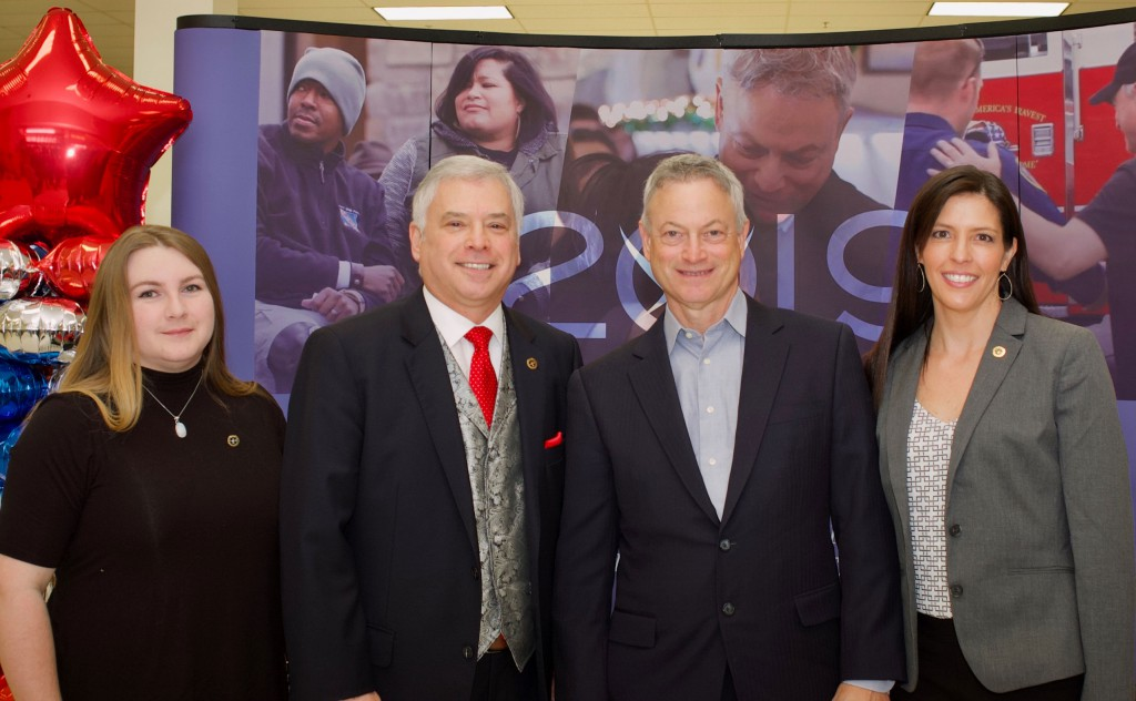 Foundation staff meet with Gary Sinise before the Feb. 25 book signing at the Fort Leavenworth Exchange. – From left, Elizabeth Hill, Simons Center Program Assistant; Roderick M. Cox, Foundation President/CEO; Gary Sinise; and Lora Morgan, Foundation Director of Operations.
