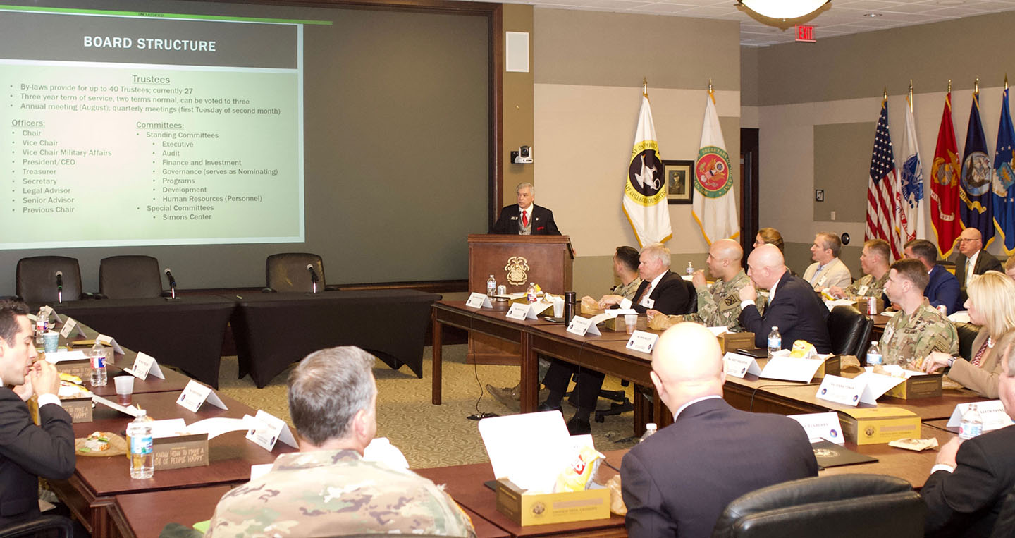 Foundation President/CEO Rod Cox provides a Foundation orientation briefing to participants of the spring 2019 National Security Roundtable program on April 10.