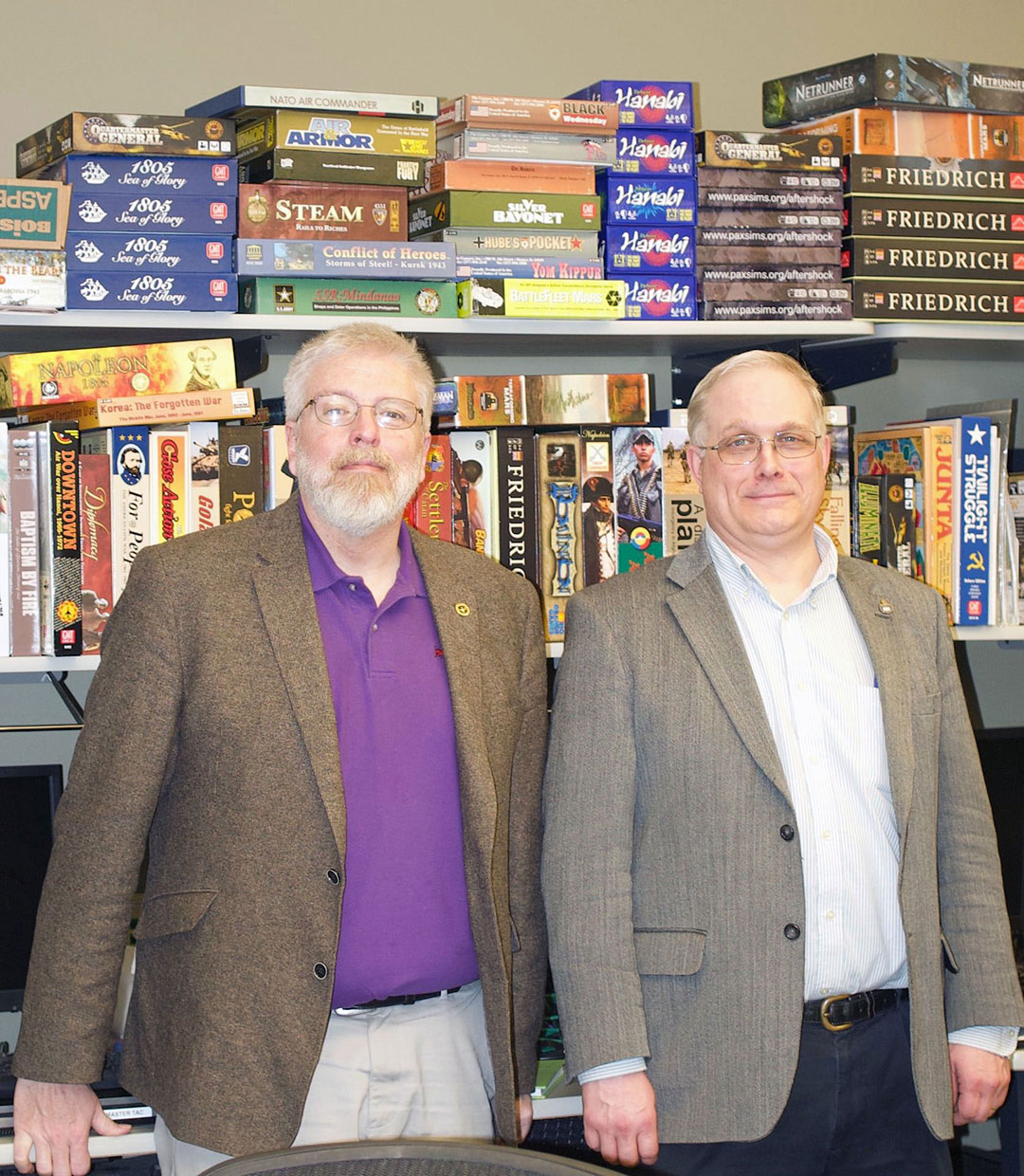 "photo of Dr. James Sterrett, Chief of the Directorate of Simulations and Education (right), and Mike Dunn, Battle Simulations Specialist, who are the CGSC Foundations ""Persons of the Month"" for April 2019."