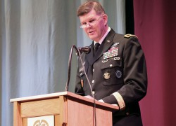 Maj. Gen. Todd B. McCaffrey, U.S. Africa Command chief of staff, delivers the commencement speech during a U.S. Army Command and General Staff Officers Course Common Core graduation ceremony hosted by the 7th Intermediate Level Education Detachment, 7th Mission Support Command, in Grafenwoehr, Germany, May 17, 2019.