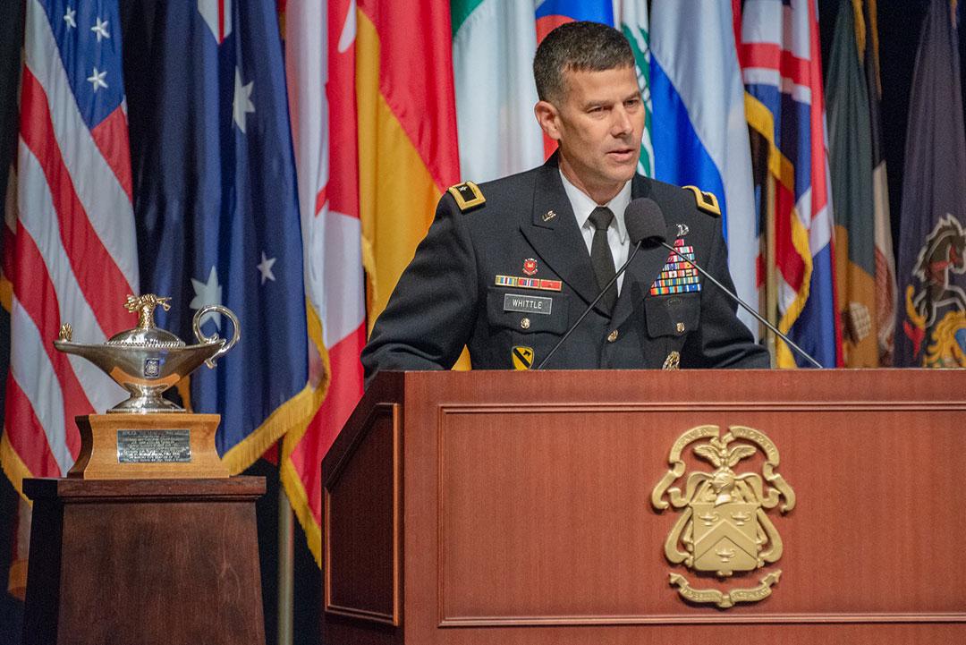 Brig. Gen. Robert F. Whittle, Jr., a graduate of the SAMS Class of 2003 and commandant of the U.S. Army Engineer School at Fort Leonard Wood, delivers remarks during the SAMS graduation ceremony May 23, 2019.